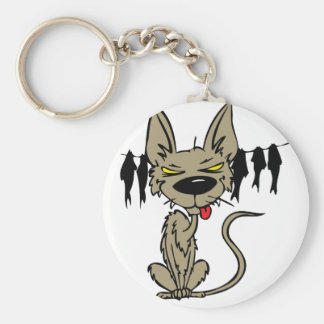 Funny Cat with Clothes Line Full of Fish Keychain