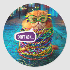 Funny Cat With Colorful Beads At Mardi Gras Classic Round Sticker at Zazzle