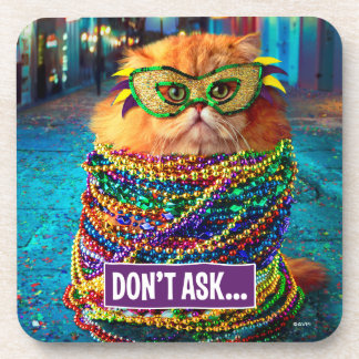 Funny Cat with Colorful Beads at Mardi Gras Coaster