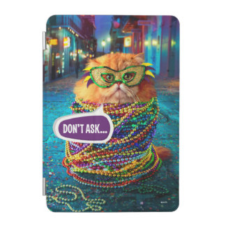Funny Cat with Colorful Beads at Mardi Gras iPad Mini Cover