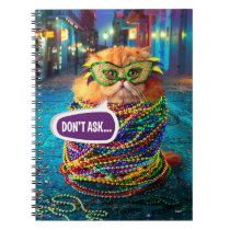 Funny Cat with Colorful Beads at Mardi Gras Notebook