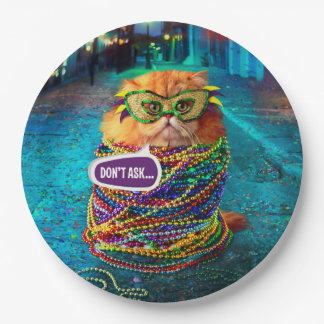 Funny Cat with Colorful Beads at Mardi Gras Paper Plate