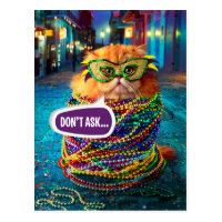 Funny Cat with Colorful Beads at Mardi Gras Postcard