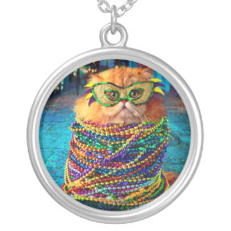 Funny Cat with Colorful Beads at Mardi Gras Round Pendant Necklace