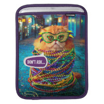 Funny Cat with Colorful Beads at Mardi Gras Sleeve For iPads