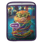 Funny Cat with Colorful Beads at Mardi Gras Sleeves For iPads