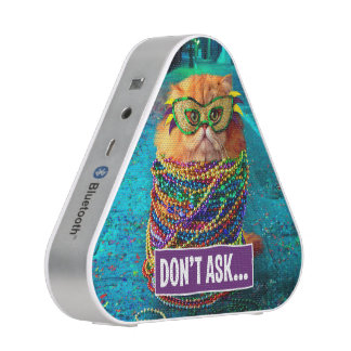Funny Cat with Colorful Beads at Mardi Gras Speaker
