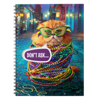 Funny Cat with Colorful Beads at Mardi Gras Spiral Notebook