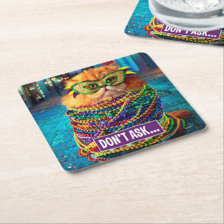 Funny Cat with Colorful Beads at Mardi Gras Square Paper Coaster