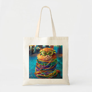 Funny Cat with Colorful Beads at Mardi Gras Tote Bag