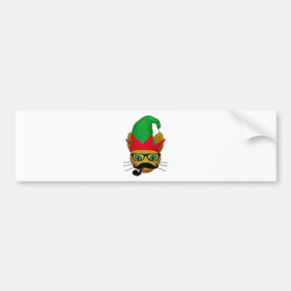 Funny Cat with elf hat and mustache ,glasses, pipe Bumper Sticker
