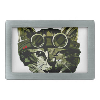 Funny Cat with Glasses Rectangular Belt Buckle