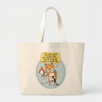 Funny Cat with Hacksaw Tote Bag