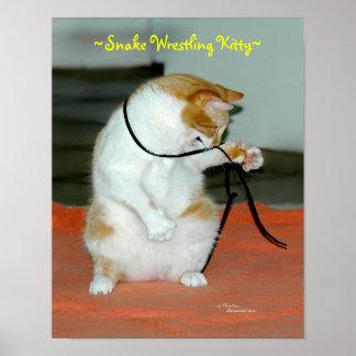 Funny Cat wrestling Snake Poster