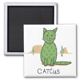 "Funny ""Catcus"" Cactus Drawing Magnet"