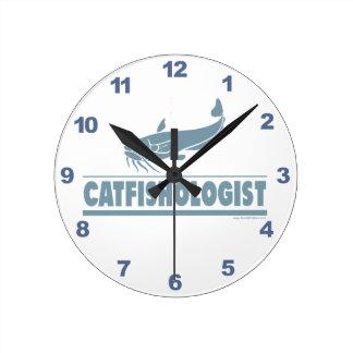 Funny Catfish Fishing Round Clock