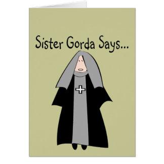 "Funny Catholic Nun Gifts, ""Sister Gorda"" Greeting Cards"