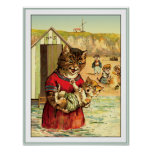 Funny Cats at the Beach - Louis Wain Poster