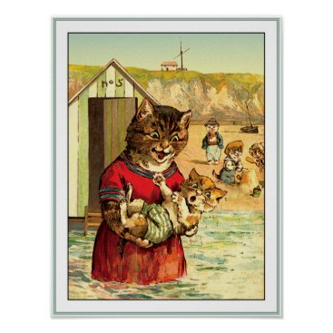 Beach Themed Funny Cats at the Beach - Louis Wain Poster