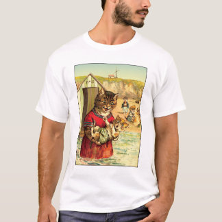 Funny Cats at the Beach - Louis Wain T-Shirt