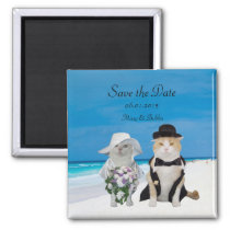 Funny Cats Beach Wedding Save the Date Magnet