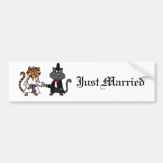 Funny Cats Bride and Groom wedding Art Bumper Sticker