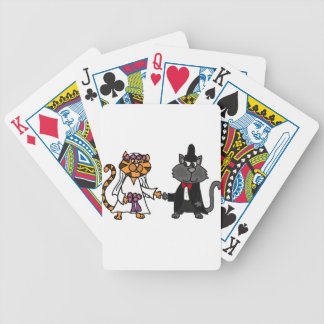 Funny Cats Bride and Groom wedding Art Bicycle Playing Cards