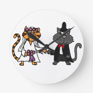 Funny Cats Bride and Groom wedding Art Round Wallclocks