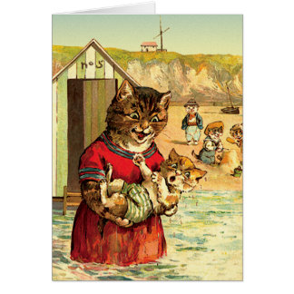 Funny Cats Card/ Invitation: Cats at the Beach