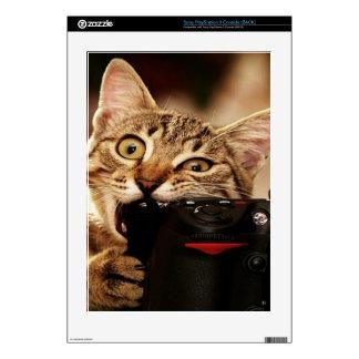 Funny cats - cat camera - cat bite PS3 console skin