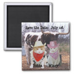 Funny Cats Cowboys Save the Date Fridge Magnets