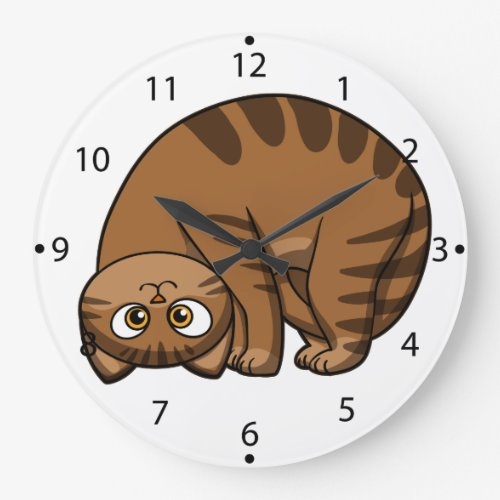 funny cats - fat cat - cat cartoon large clock