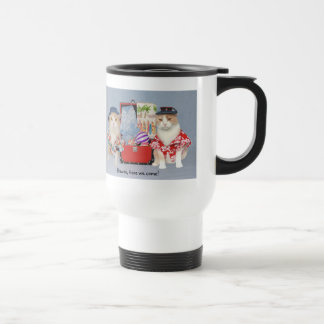 Funny Cats Going to Hawaii Travel Mug