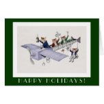 Funny Cats Happy Holidays Card - Vintage Cat Art