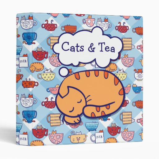 Funny cats in cups binder (editable text)