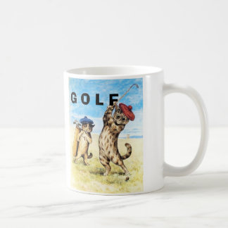Funny Cats Playing Golf Caddy Design Coffee Mug