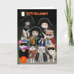 """Funny Cats Prowling on Halloween Card<br><div class=""""desc"""">A bunch of kitties in costumes finally found a night when it&#39;s OK to prowl.  Just for fun.  Actually this is one night no kitties should be outside.</div>"""