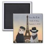 Funny Cats Save the Date Paris Wedding 2 Inch Square Magnet