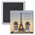 Funny Cats Save the Date Paris Wedding II 2 Inch Square Magnet