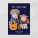 Cute Mariachi Fiesta Cats Wedding Save The Date Card (Horizontal card also available. Visit Shop for details).