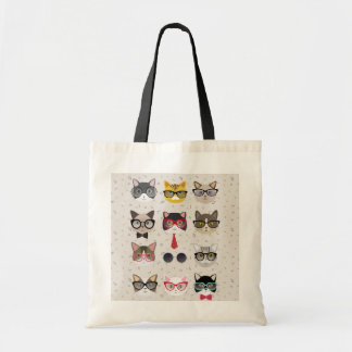 Funny Cats with Glasses Budget Tote Bag