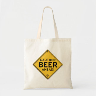 Funny Caution Beer Ahead Road Sign Tote Bag