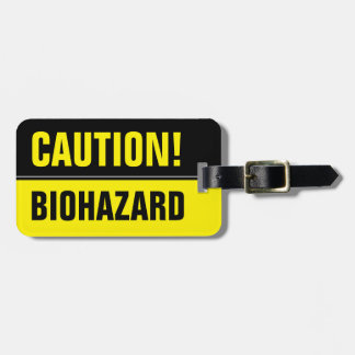 Funny caution biohazard sign travel luggage tag