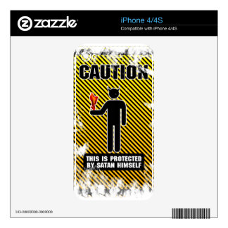 Funny Caution Satan iPhone 4S Decals