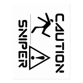 Funny Caution Sniper Postcard