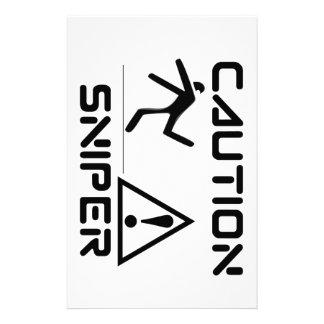Funny Caution Sniper Stationery Design