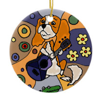 Funny Cavalier King Charles Spaniel Dog Abstract Ceramic Ornament