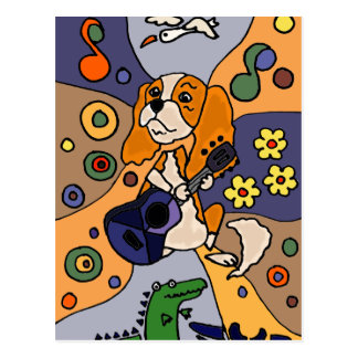 Funny Cavalier King Charles Spaniel Dog Abstract Postcard