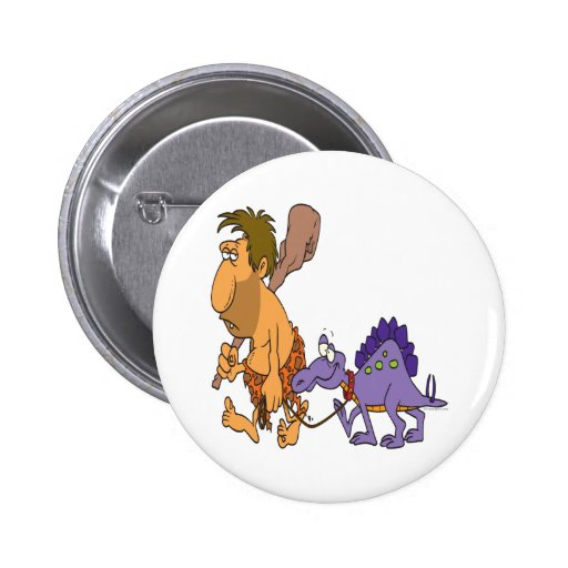 funny caveman and pet dinosaur 2 inch round button