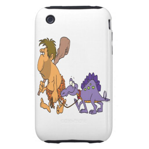 funny caveman and pet dinosaur tough iPhone 3 cases